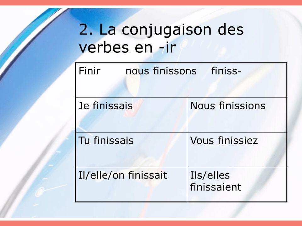 2. La conjugaison des verbes en -ir Finir nous finissons finiss- Je finissaisNous finissions Tu finissaisVous finissiez Il/elle/on finissaitIls/elles