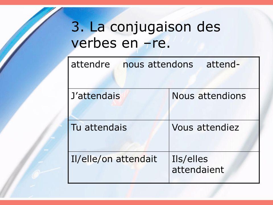 3. La conjugaison des verbes en –re. attendre nous attendons attend- J'attendaisNous attendions Tu attendaisVous attendiez Il/elle/on attendaitIls/ell
