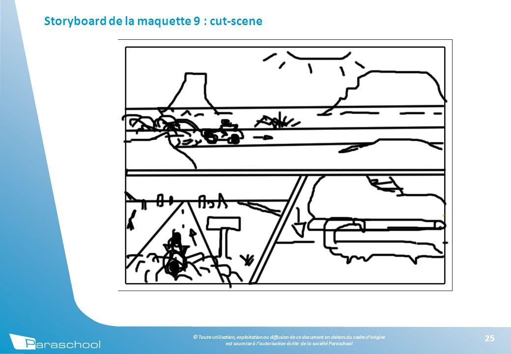 © Toute utilisation, exploitation ou diffusion de ce document en dehors du cadre d'origine est soumise à l'autorisation écrite de la société Paraschool Storyboard de la maquette 9 : cut-scene 25