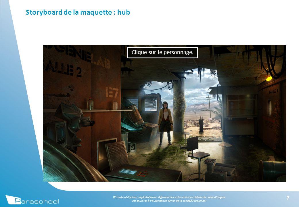 © Toute utilisation, exploitation ou diffusion de ce document en dehors du cadre d'origine est soumise à l'autorisation écrite de la société Paraschool Storyboard de la maquette : hub 7 Clique sur le personnage.
