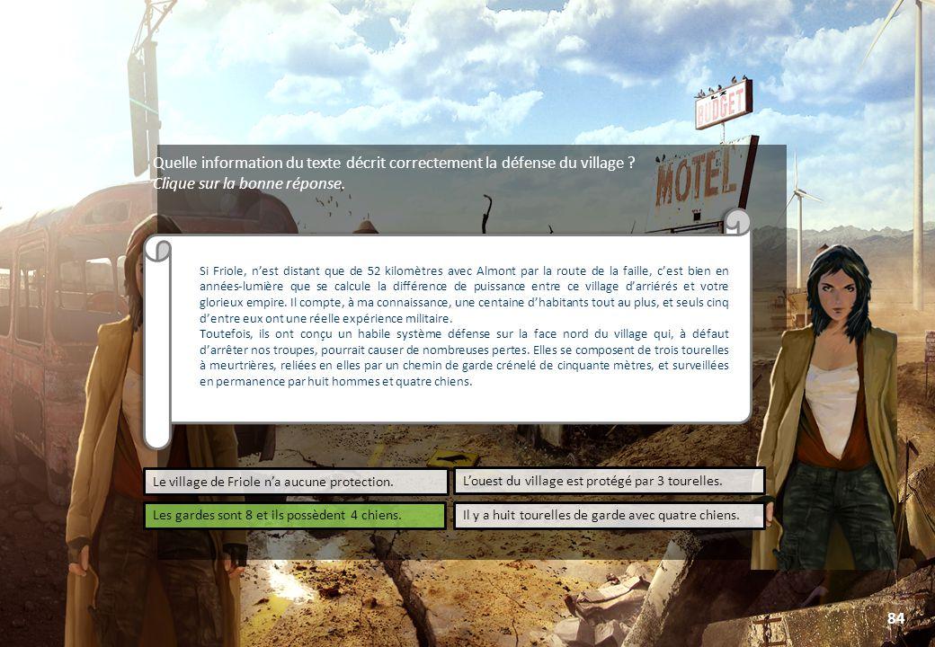 © Toute utilisation, exploitation ou diffusion de ce document en dehors du cadre d'origine est soumise à l'autorisation écrite de la société Paraschool 84 Quelle information du texte décrit correctement la défense du village .