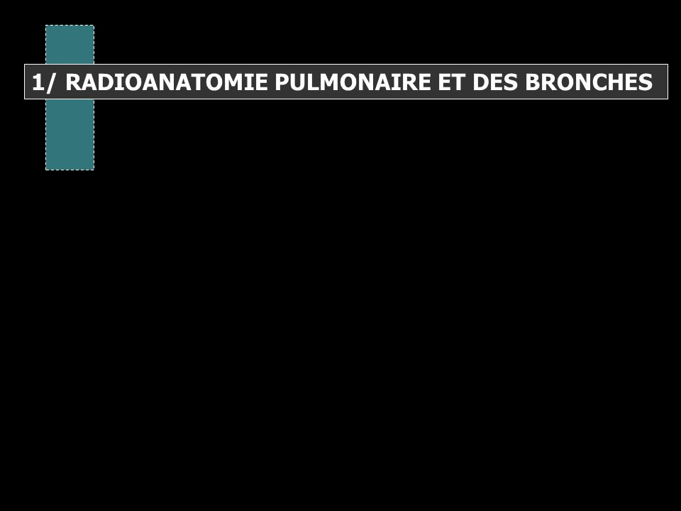1/ RADIOANATOMIE PULMONAIRE ET DES BRONCHES