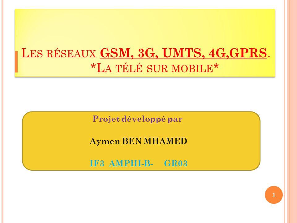 L ES RÉSEAUX GSM, 3G, UMTS, 4G,GPRS.