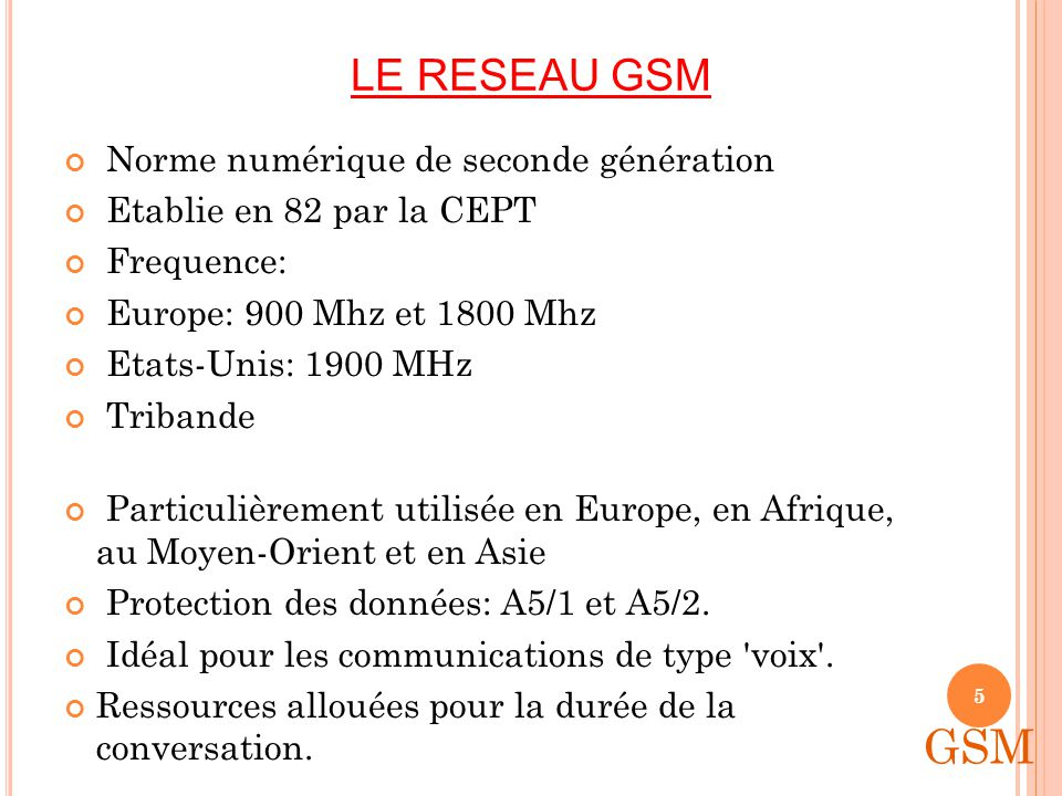 LE RESEAU GSM Norme numérique de seconde génération Etablie en 82 par la CEPT Frequence: Europe: 900 Mhz et 1800 Mhz Etats-Unis: 1900 MHz Tribande Particulièrement utilisée en Europe, en Afrique, au Moyen-Orient et en Asie Protection des données: A5/1 et A5/2.