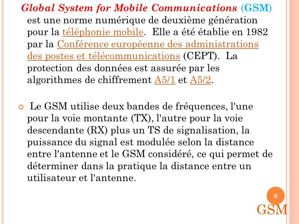 LE RESEAU GSM Norme numérique de seconde génération Etablie en 82 par la CEPT Frequence: Europe: 900 Mhz et 1800 Mhz Etats-Unis: 1900 MHz Tribande Par