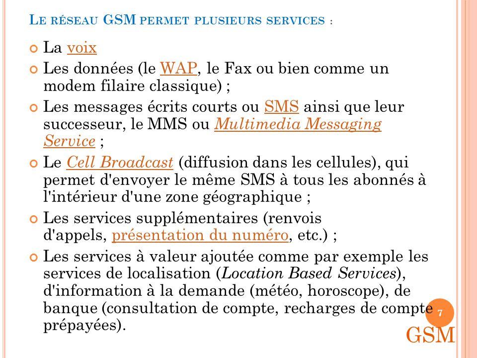 Global System for Mobile Communications ( GSM ) est une norme numérique de deuxième génération pour la téléphonie mobile.