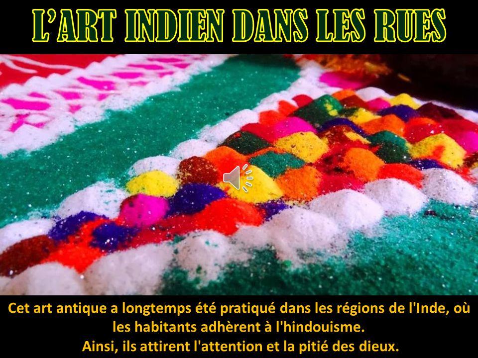 L utilisation des matériaux comestibles est utile pour créer des peintures religieuses colorées sur la terre.