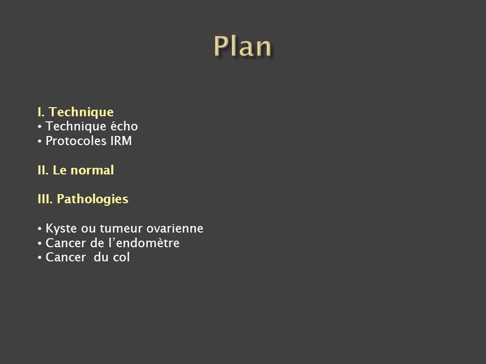 -Gel intra-vaginal ++ - 2 ou 3 plans T2 sur pelvis dont Ax T2 perpendiculaire au col - Ax T2 sur abdomen - Option : Fr T2 parallèle au col (paramètres) - T1 Gado dynamiques ++++++++++ : rehaussement précoce du cancer - T1 Gado tardives - (Diffusion) Contraste optimal col/ tumeur : 30 -60 s Tumeur : hyper T2 / rapport au col Rehaussement précoce Lavage tardif