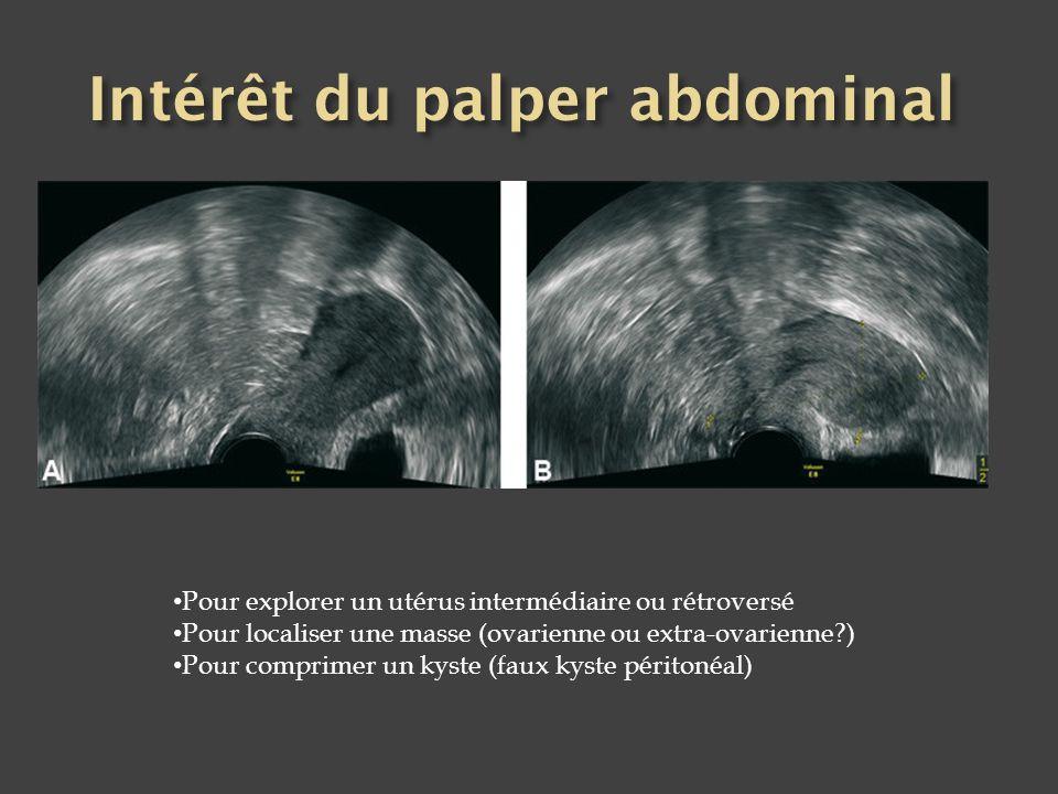 Pour explorer un utérus intermédiaire ou rétroversé Pour localiser une masse (ovarienne ou extra-ovarienne?) Pour comprimer un kyste (faux kyste périt