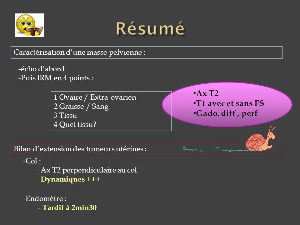 -écho d'abord -Puis IRM en 4 points : 1 Ovaire / Extra-ovarien 2 Graisse / Sang 3 Tissu 4 Quel tissu? -Col : -Ax T2 perpendiculaire au col - Dynamique