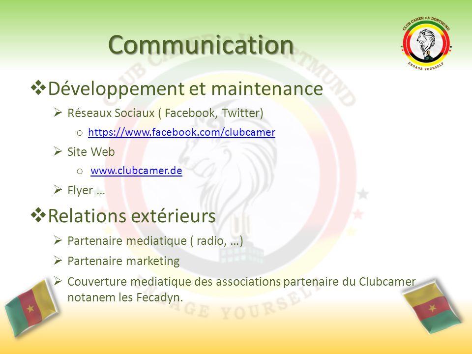 Communication  Développement et maintenance  Réseaux Sociaux ( Facebook, Twitter) o https://www.facebook.com/clubcamer https://www.facebook.com/club