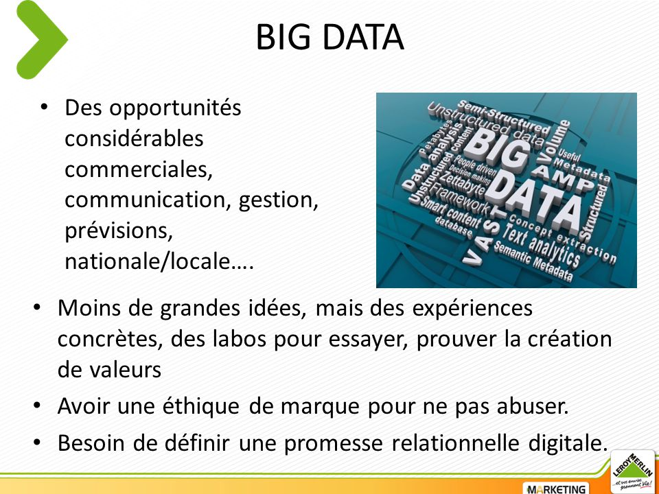 BIG DATA Des opportunités considérables commerciales, communication, gestion, prévisions, nationale/locale….