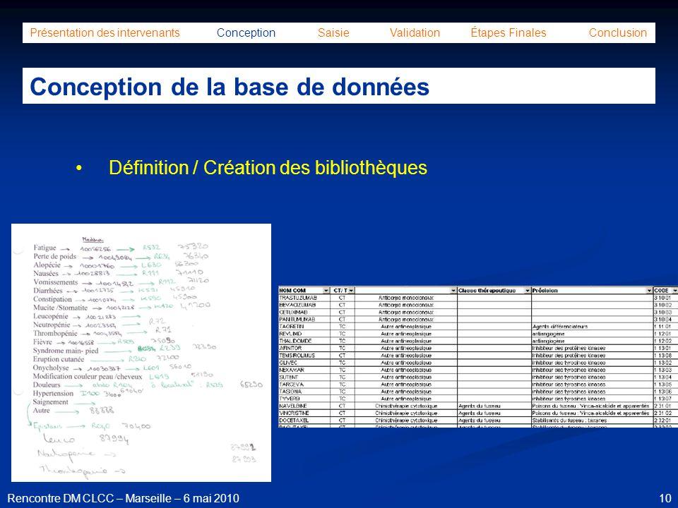 10Rencontre DM CLCC – Marseille – 6 mai 2010 Présentation des intervenants Conception Saisie Validation Étapes Finales Conclusion Conception de la bas