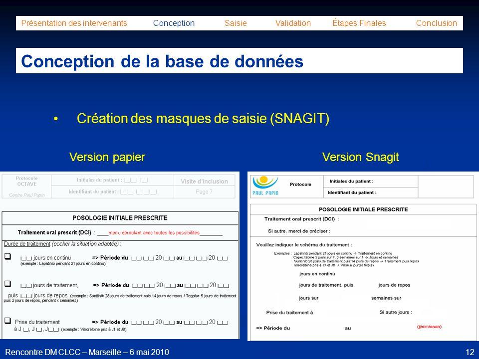 12Rencontre DM CLCC – Marseille – 6 mai 2010 Présentation des intervenants Conception Saisie Validation Étapes Finales Conclusion Conception de la bas