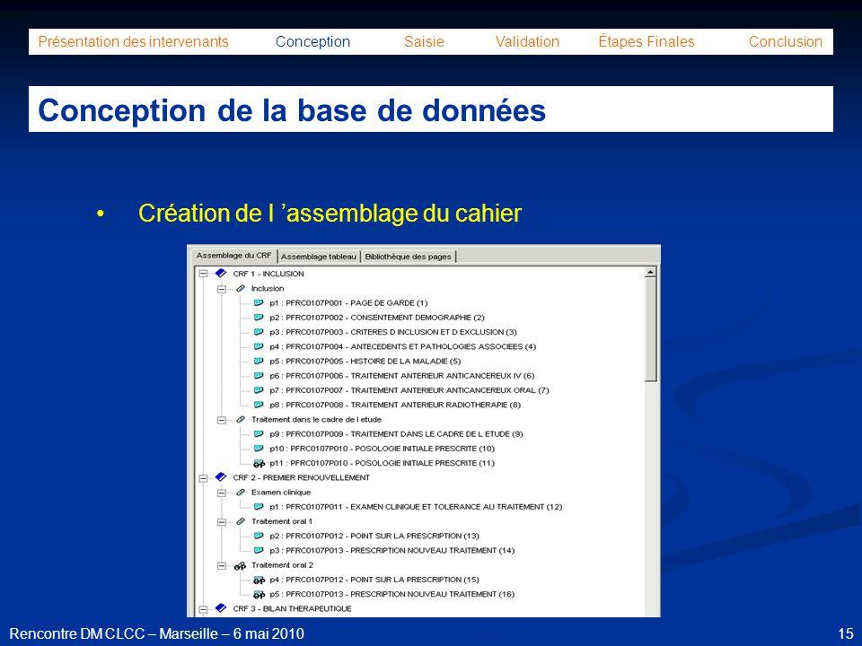 15Rencontre DM CLCC – Marseille – 6 mai 2010 Présentation des intervenants Conception Saisie Validation Étapes Finales Conclusion Conception de la bas