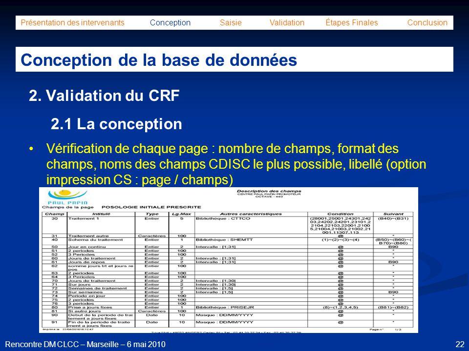 22Rencontre DM CLCC – Marseille – 6 mai 2010 Présentation des intervenants Conception Saisie Validation Étapes Finales Conclusion Conception de la bas