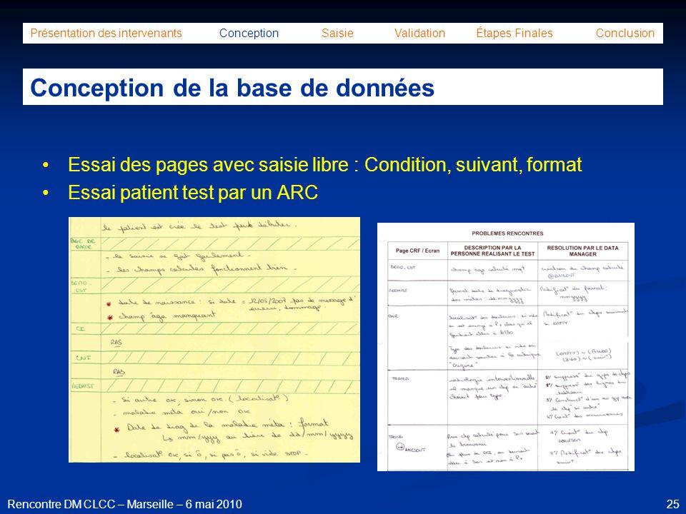 25Rencontre DM CLCC – Marseille – 6 mai 2010 Présentation des intervenants Conception Saisie Validation Étapes Finales Conclusion Conception de la bas