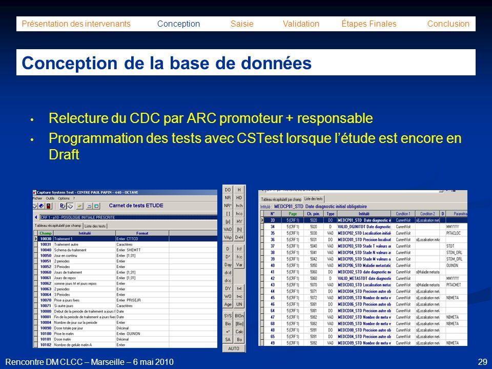 29Rencontre DM CLCC – Marseille – 6 mai 2010 Présentation des intervenants Conception Saisie Validation Étapes Finales Conclusion Conception de la bas