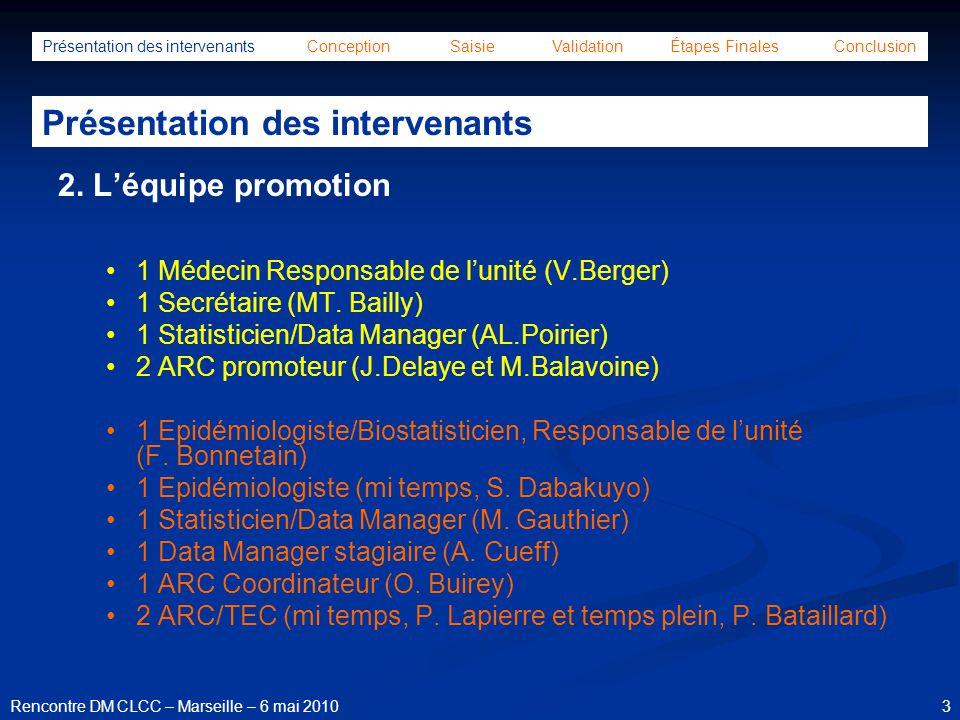 44Rencontre DM CLCC – Marseille – 6 mai 2010 Présentation des intervenants Conception Saisie Validation Étapes Finales Conclusion Étapes finales