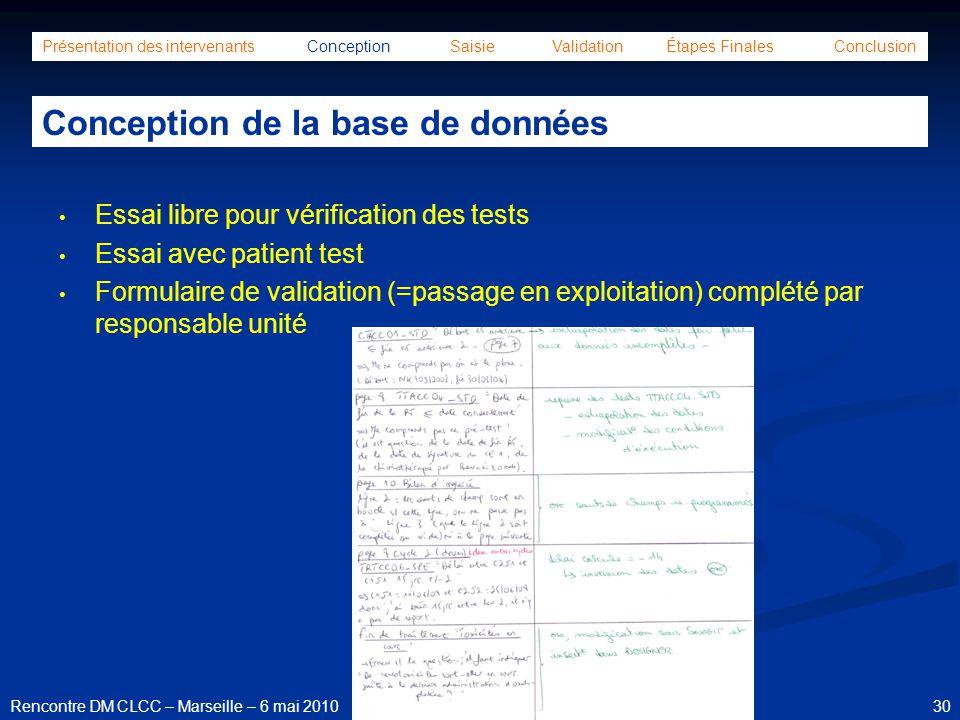 30Rencontre DM CLCC – Marseille – 6 mai 2010 Présentation des intervenants Conception Saisie Validation Étapes Finales Conclusion Conception de la bas