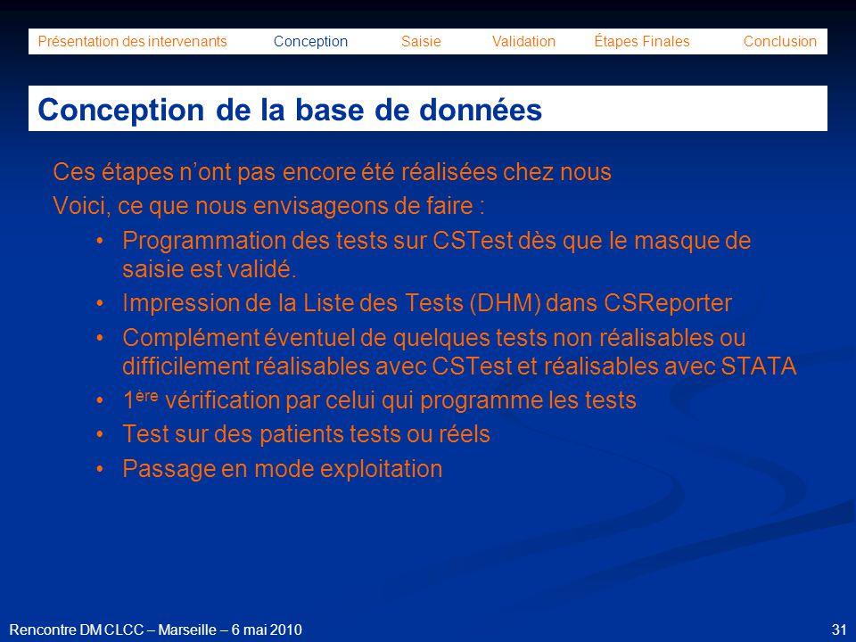 31Rencontre DM CLCC – Marseille – 6 mai 2010 Présentation des intervenants Conception Saisie Validation Étapes Finales Conclusion Conception de la bas