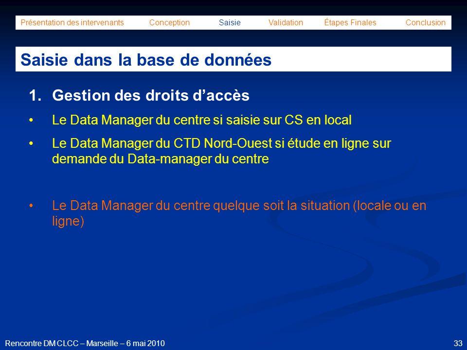 33Rencontre DM CLCC – Marseille – 6 mai 2010 Présentation des intervenants Conception Saisie Validation Étapes Finales Conclusion Saisie dans la base