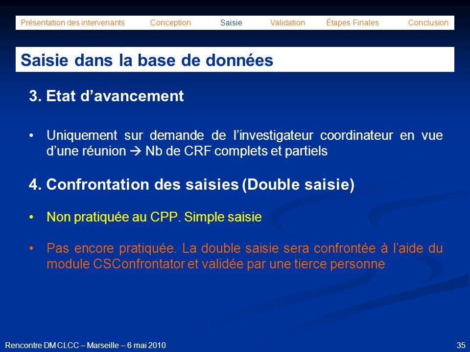 35Rencontre DM CLCC – Marseille – 6 mai 2010 Présentation des intervenants Conception Saisie Validation Étapes Finales Conclusion Saisie dans la base