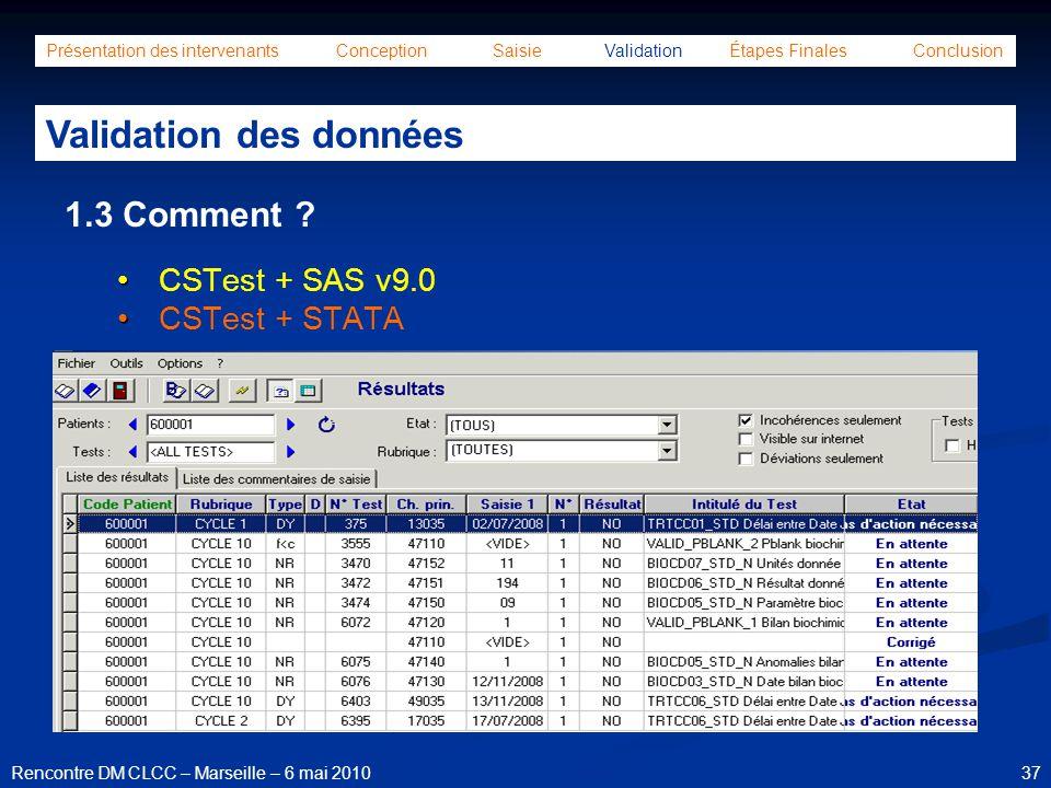 37Rencontre DM CLCC – Marseille – 6 mai 2010 Présentation des intervenants Conception Saisie Validation Étapes Finales Conclusion Validation des donné