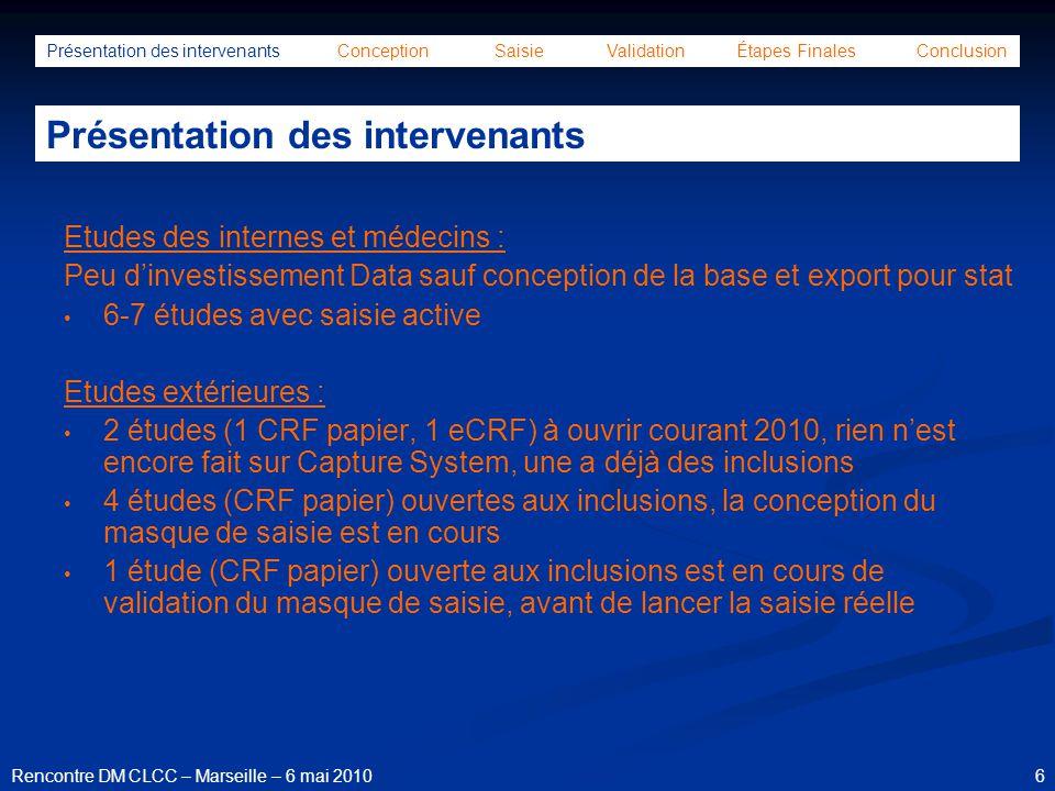 27Rencontre DM CLCC – Marseille – 6 mai 2010 Formulaire validation saisie et export Présentation des intervenants Conception Saisie Validation Étapes Finales Conclusion Conception de la base de données