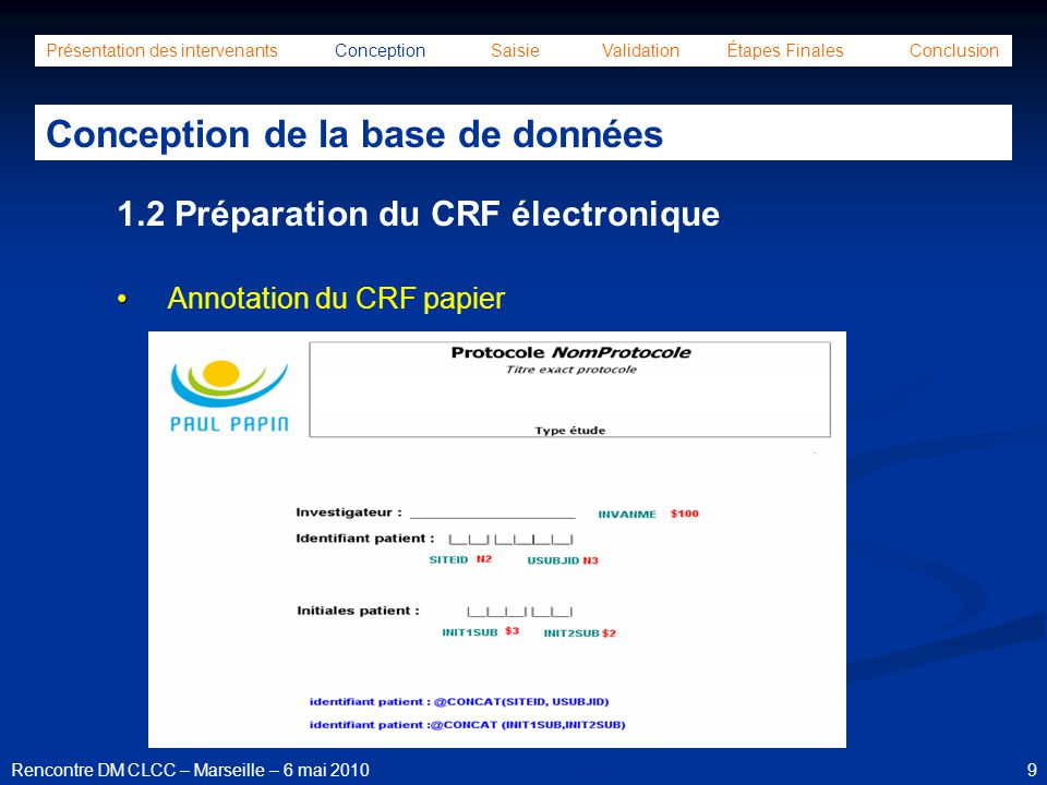 10Rencontre DM CLCC – Marseille – 6 mai 2010 Présentation des intervenants Conception Saisie Validation Étapes Finales Conclusion Conception de la base de données Définition / Création des bibliothèques