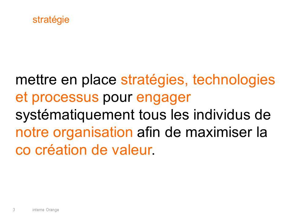 interne Orange3 stratégie mettre en place stratégies, technologies et processus pour engager systématiquement tous les individus de notre organisation afin de maximiser la co création de valeur.