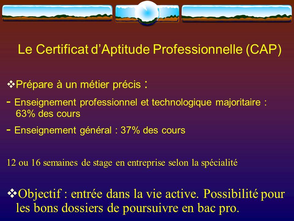 Le Certificat d'Aptitude Professionnelle (CAP)  Prépare à un métier précis : - Enseignement professionnel et technologique majoritaire : 63% des cours - Enseignement général : 37% des cours 12 ou 16 semaines de stage en entreprise selon la spécialité  Objectif : entrée dans la vie active.