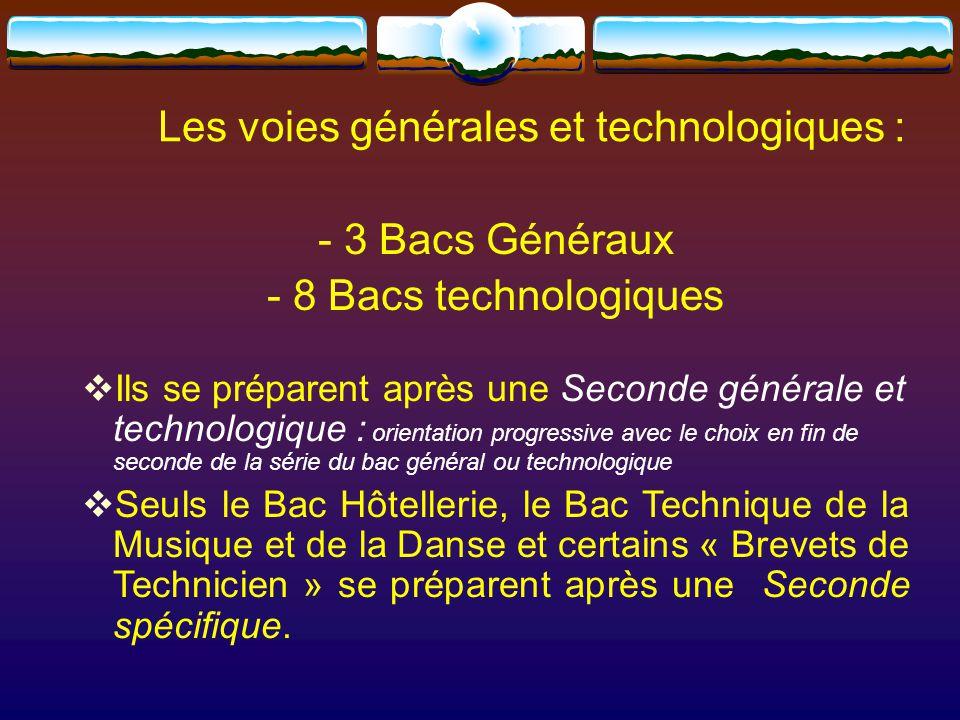 Les voies générales et technologiques : - 3 Bacs Généraux - 8 Bacs technologiques  Ils se préparent après une Seconde générale et technologique : orientation progressive avec le choix en fin de seconde de la série du bac général ou technologique  Seuls le Bac Hôtellerie, le Bac Technique de la Musique et de la Danse et certains « Brevets de Technicien » se préparent après une Seconde spécifique.