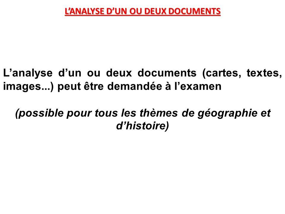 L'ANALYSE D'UN OU DEUX DOCUMENTS L'analyse d'un ou deux documents (cartes, textes, images...) peut être demandée à l'examen (possible pour tous les thèmes de géographie et d'histoire)