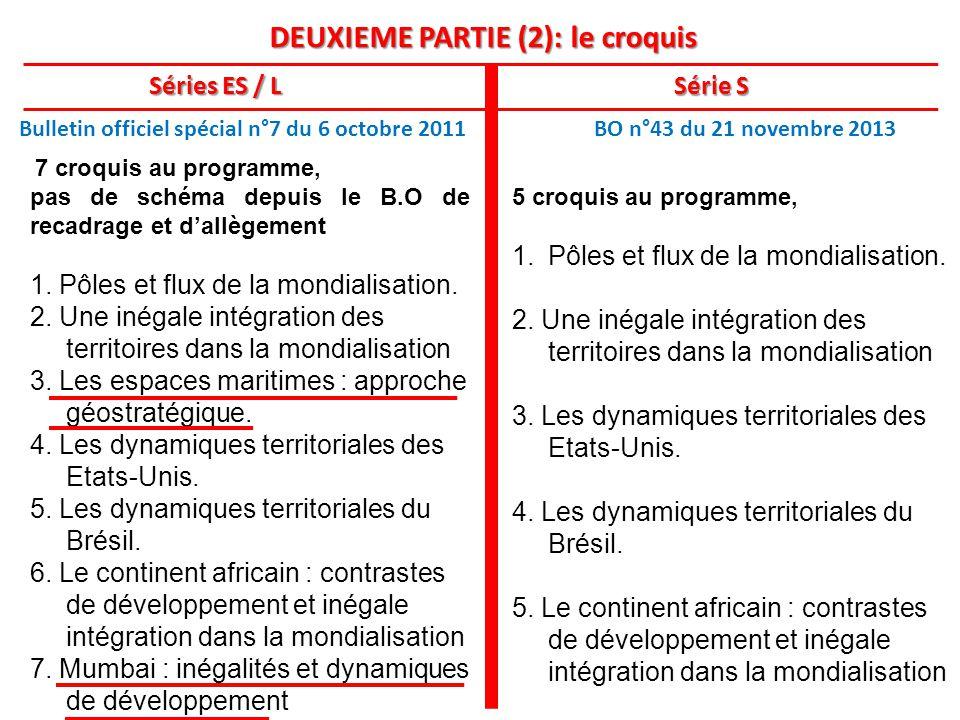 DEUXIEME PARTIE (2): le croquis Séries ES / L Série S Bulletin officiel spécial n°7 du 6 octobre 2011 BO n°43 du 21 novembre 2013 5 croquis au programme, 1.Pôles et flux de la mondialisation.