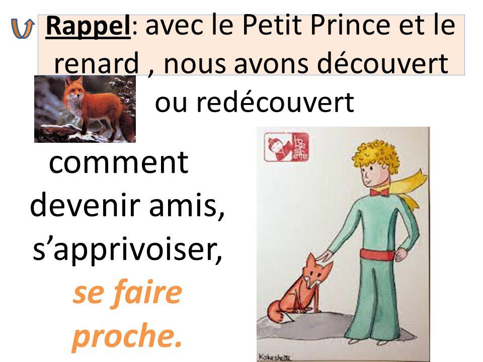 Rappel: avec le Petit Prince et le renard, nous avons découvert ou redécouvert comment devenir amis, s'apprivoiser, se faire proche.