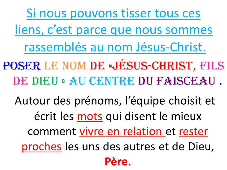 Si nous pouvons tisser tous ces liens, c'est parce que nous sommes rassemblés au nom Jésus-Christ. Poser le nom de «Jésus-Christ, Fils de Dieu » au ce