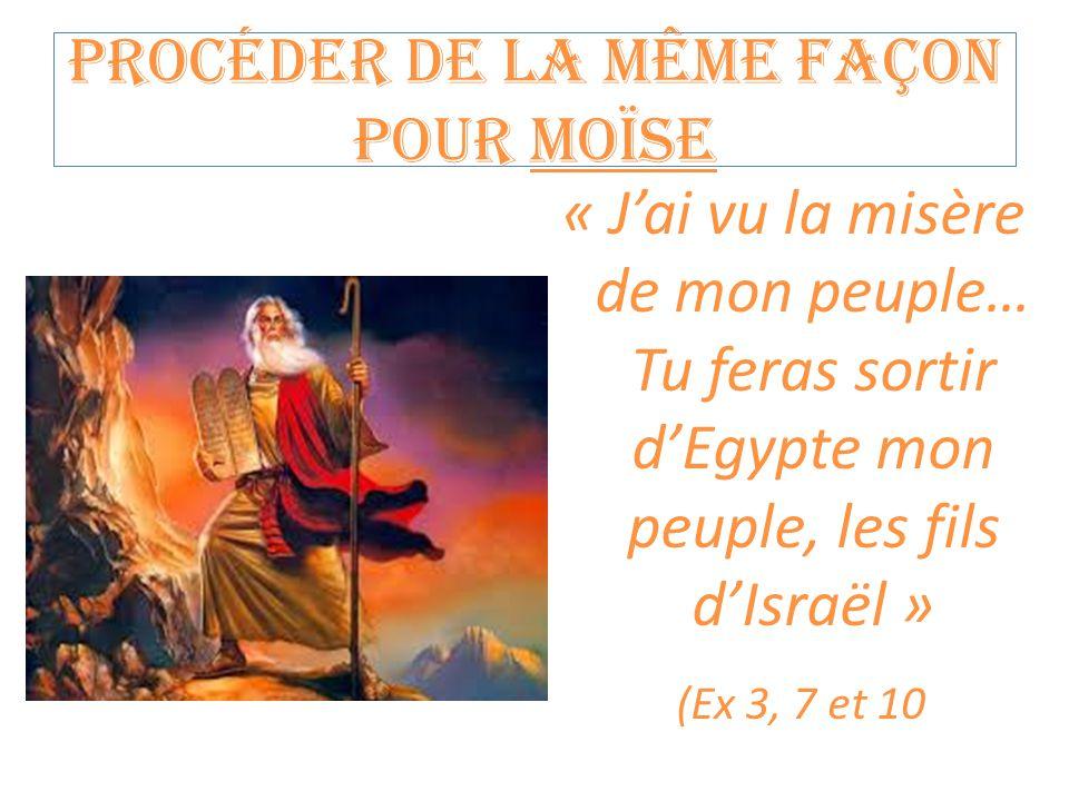Procéder de la même façon pour Moïse « J'ai vu la misère de mon peuple… Tu feras sortir d'Egypte mon peuple, les fils d'Israël » (Ex 3, 7 et 10