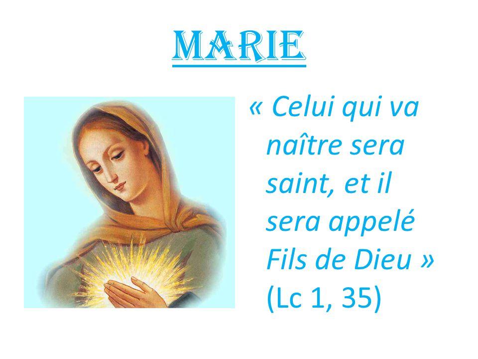 Marie « Celui qui va naître sera saint, et il sera appelé Fils de Dieu » (Lc 1, 35)