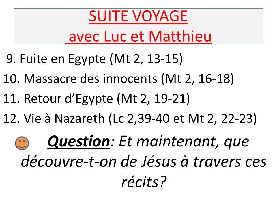 SUITE VOYAGE avec Luc et Matthieu 9. Fuite en Egypte (Mt 2, 13-15) 10. Massacre des innocents (Mt 2, 16-18) 11. Retour d'Egypte (Mt 2, 19-21) 12. Vie