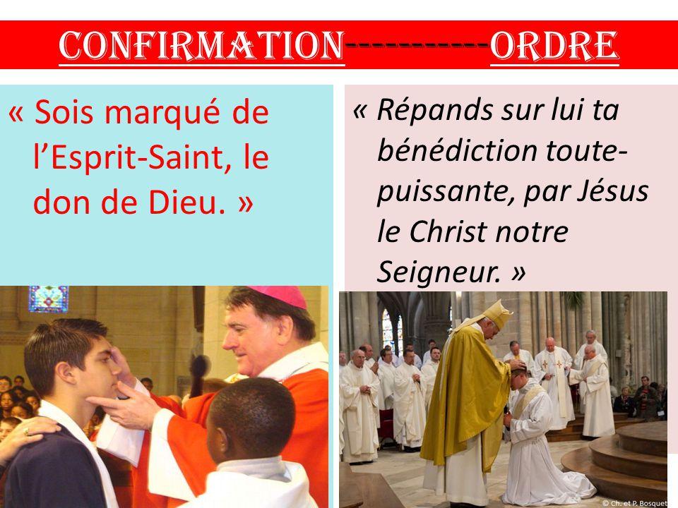 Confirmation-----------ORDRE « Sois marqué de l'Esprit-Saint, le don de Dieu. » « Répands sur lui ta bénédiction toute- puissante, par Jésus le Christ