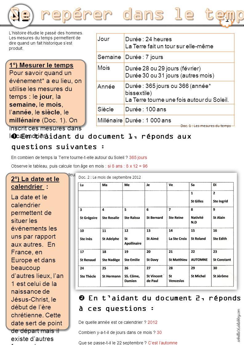 H1 2 3°) Les différents calendriers Notre calendrier, appelé « calendrier grégorien », suit les mouvements du Soleil.