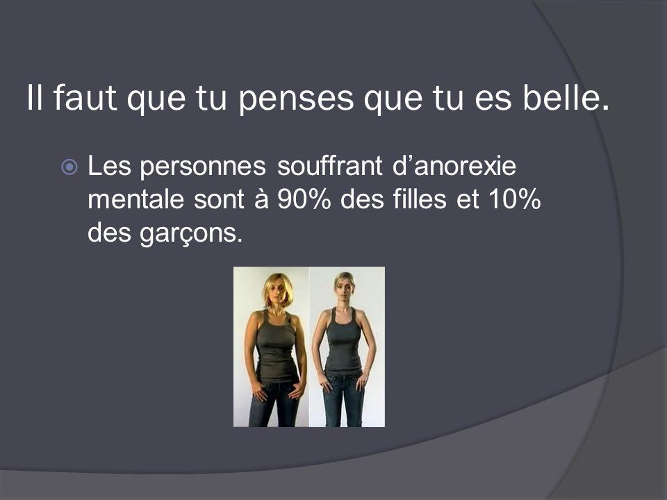 Il faut que tu penses que tu es belle.  Les personnes souffrant d'anorexie mentale sont à 90% des filles et 10% des garçons.