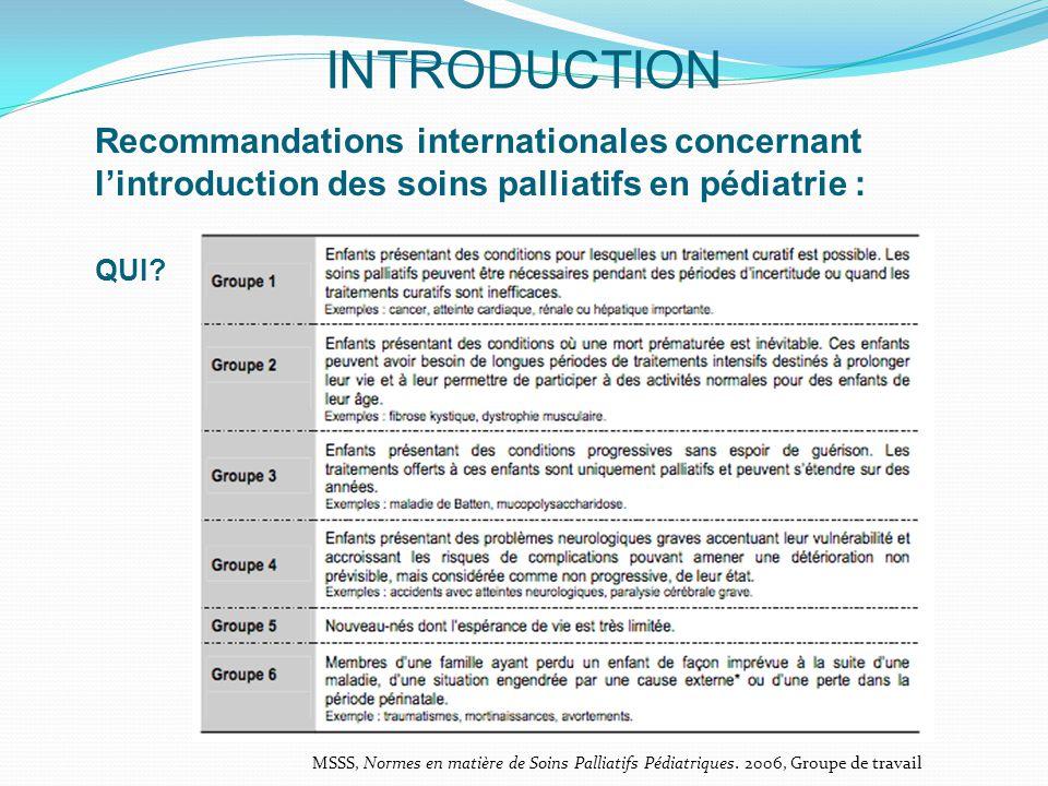 INTRODUCTION Recommandations internationales concernant l'introduction des soins palliatifs en pédiatrie : QUI.