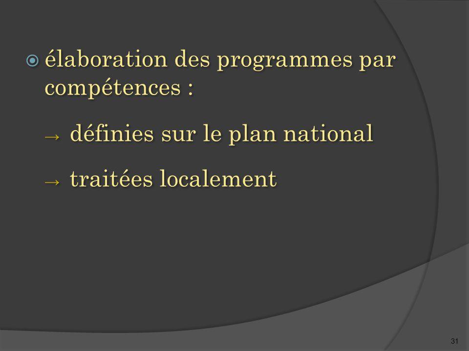 31  élaboration des programmes par compétences : → définies sur le plan national → traitées localement  élaboration des programmes par compétences : → définies sur le plan national → traitées localement
