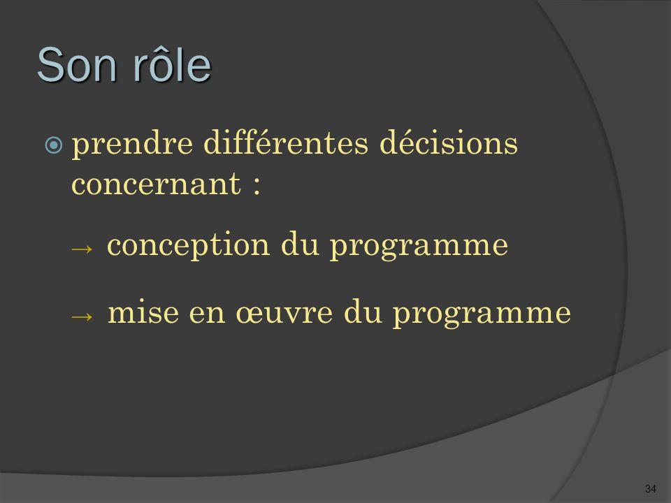 34 Son rôle  prendre différentes décisions concernant : → conception du programme → mise en œuvre du programme