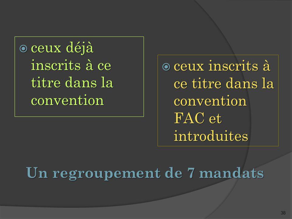 38 Un regroupement de 7 mandats  ceux déjà inscrits à ce titre dans la convention  ceux inscrits à ce titre dans la convention FAC et introduites