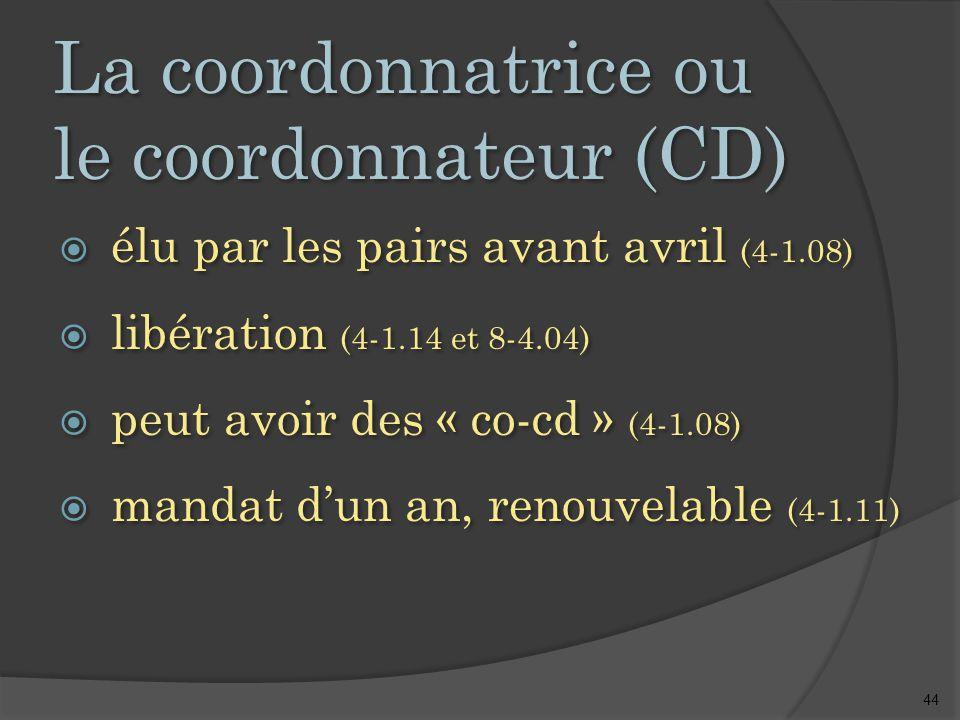 44 La coordonnatrice ou le coordonnateur (CD)  élu par les pairs avant avril (4-1.08)  libération (4-1.14 et 8-4.04)  peut avoir des « co-cd » (4-1.08)  mandat d'un an, renouvelable (4-1.11)  élu par les pairs avant avril (4-1.08)  libération (4-1.14 et 8-4.04)  peut avoir des « co-cd » (4-1.08)  mandat d'un an, renouvelable (4-1.11)