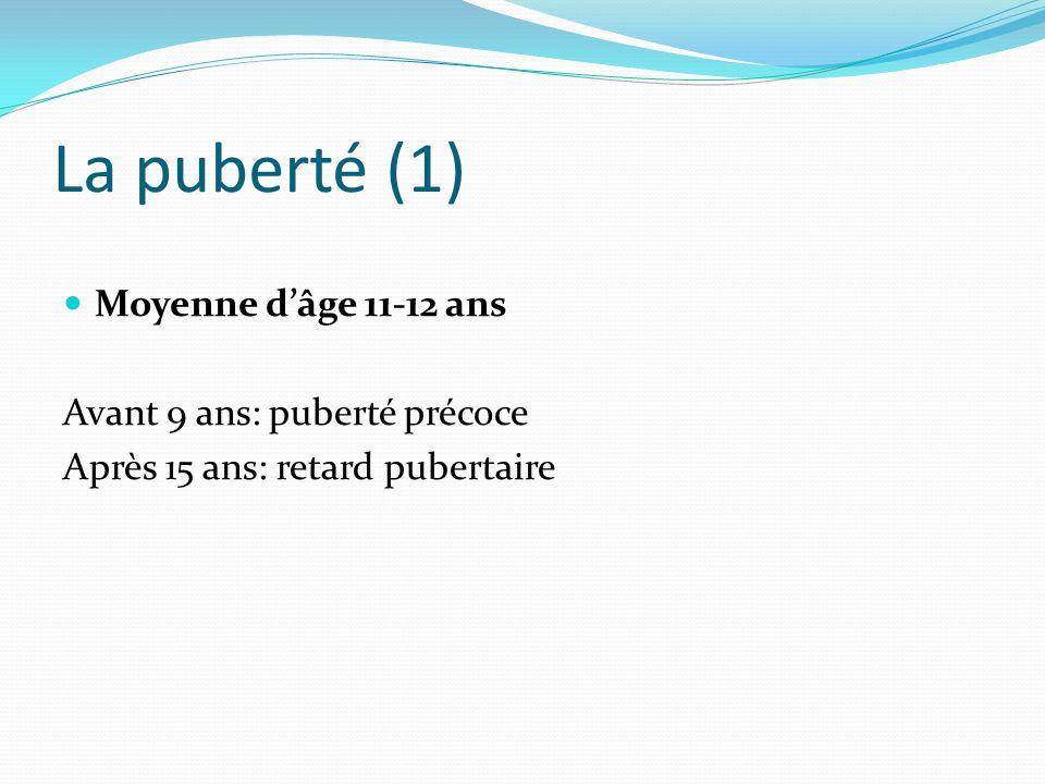 La puberté (1) Moyenne d'âge 11-12 ans Avant 9 ans: puberté précoce Après 15 ans: retard pubertaire