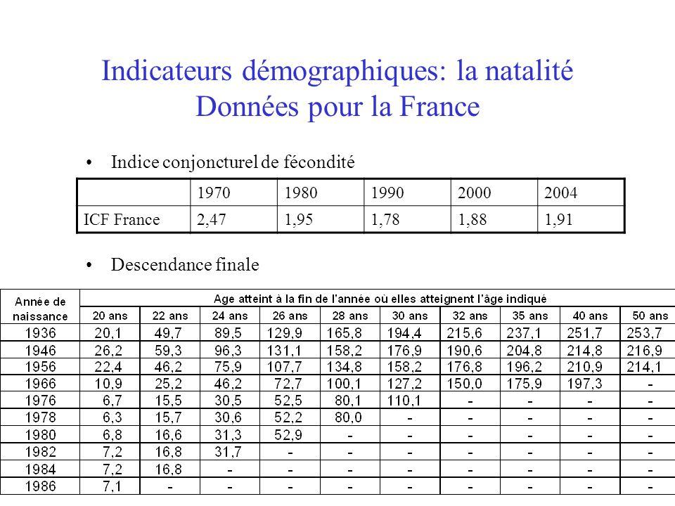 Indicateurs démographiques: la natalité Données pour la France Indice conjoncturel de fécondité Descendance finale 19701980199020002004 ICF France2,47